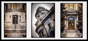 This triptych depicts the essence of the growing culture of the City of Winnipeg during the late 19th century. The historic and stoic entrance of the Winnipeg Law Courts building emits a sense of strength. The turret above portrays justice with its view points overlooking the land to the North, South, East and West. The Land Titles entrance emits grace and style giving settlers a sense of honor as they approach these grand doors applying for  land titles.